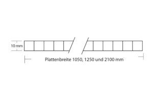 Polycarbonat Stegplatte 10 mm Struktur mit Plattenbreite 1050 mm, 1250 mm und 2100 mm