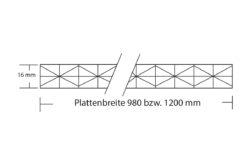 Stegplatte 16 mm Fachwerk Polycarbonat Hagelfest