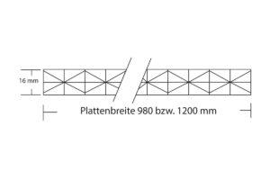 Polycarbonat Stegplatte 16 mm Fachwer X Struktur mit Plattenbreite 980 mm und 1200 mm