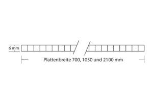 Polycarbonat Stegplatte 6 mm Struktur mit Plattenbreite 700mm, 1050 mm und 2100 mm