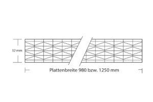 Polycarbonat Stegplatte 32 mm Fachwer X 11-Fach Struktur mit Plattenbreite 980 mm und 1250 mm
