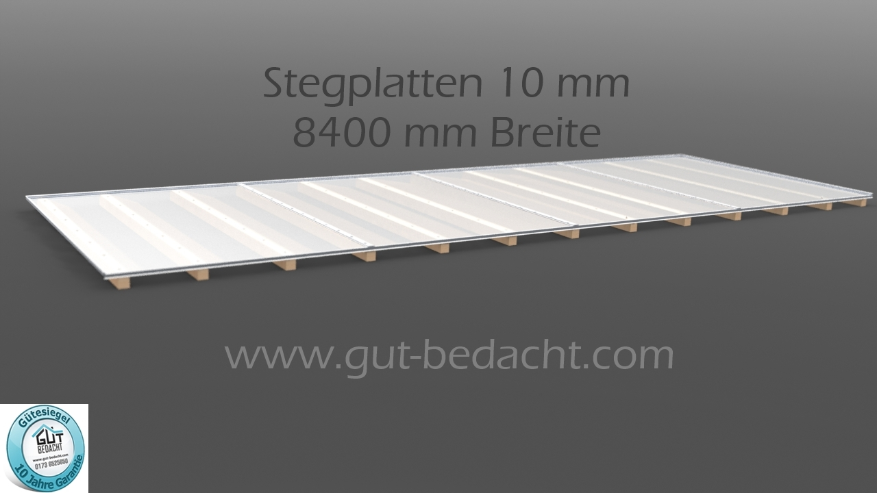 dachhaut 8400 mm breite komplettset aus stegplatten 10 mm klar opal. Black Bedroom Furniture Sets. Home Design Ideas