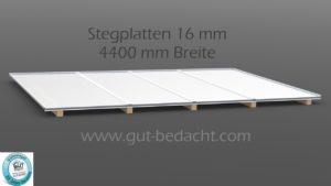 Dachhaut 4400 mm Breite als Komplett Set mit 16 mm Stegplatten