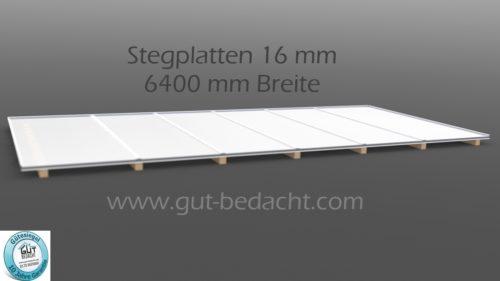 Dachhaut 6400 mm Breite als Komplett Set mit 16 mm Stegplatten