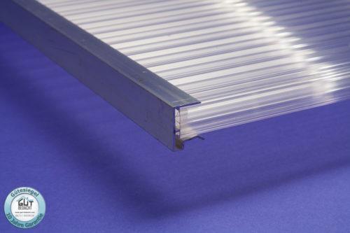 Alu Abschlussprofil kleine Tropfkante für 16 mm Stegplatten klar