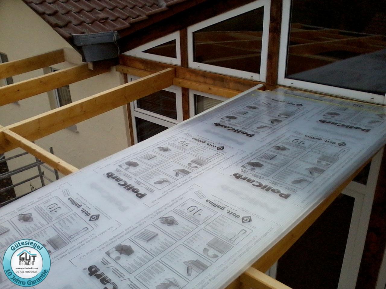 10 mm klar in 1250 mm Breite als Dach